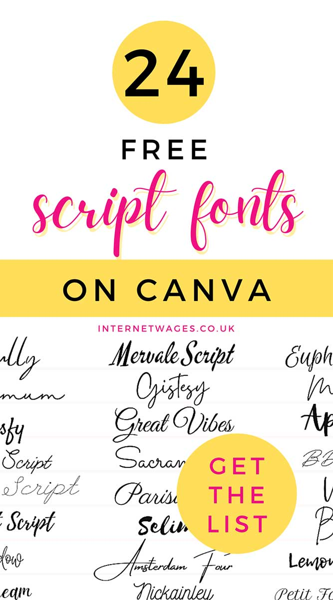 24 free script fonts on Canva, perfect for creative entrepreneurs and bloggers! Get the list.