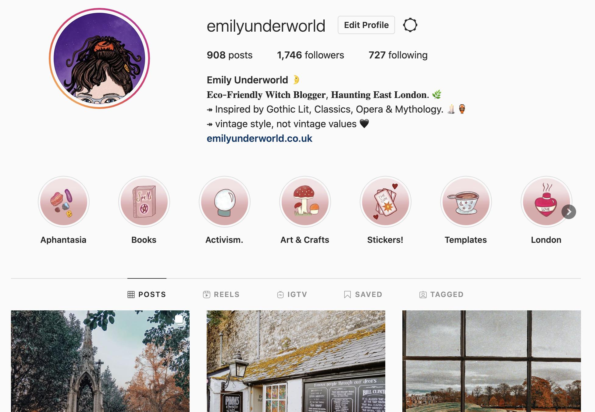 @emilyunderworld Instagram Profile, showing Story Highlight icons.