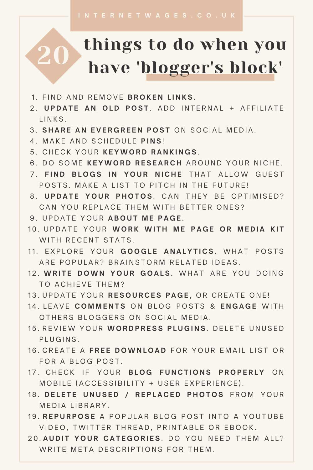 20 Things To Do When You Have Blogger's Block.