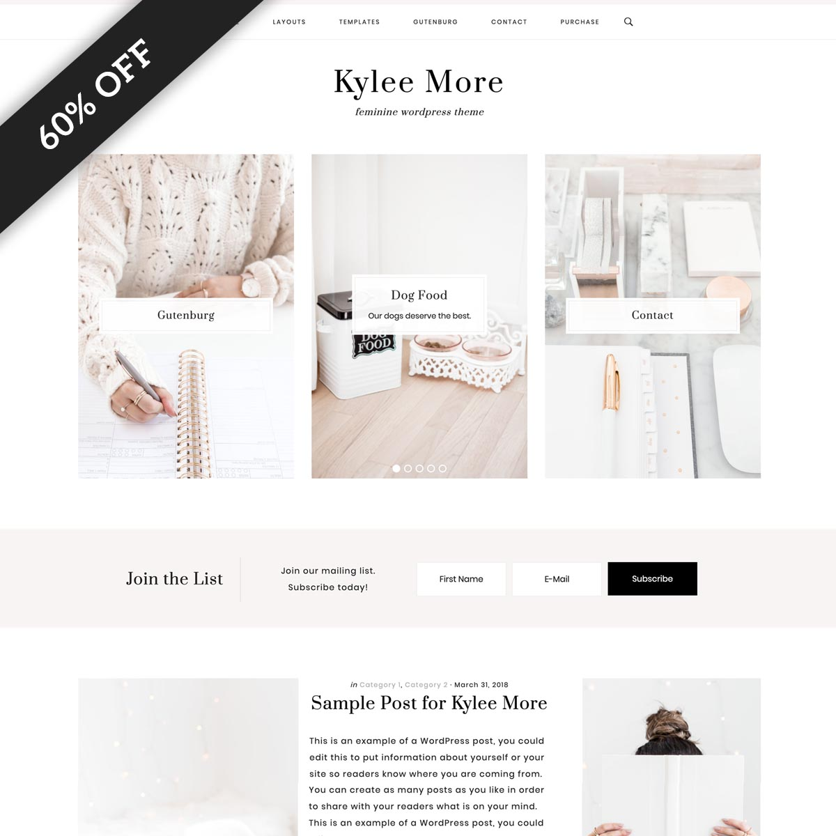Kylee More WordPress Theme for Lifestyle Bloggers.