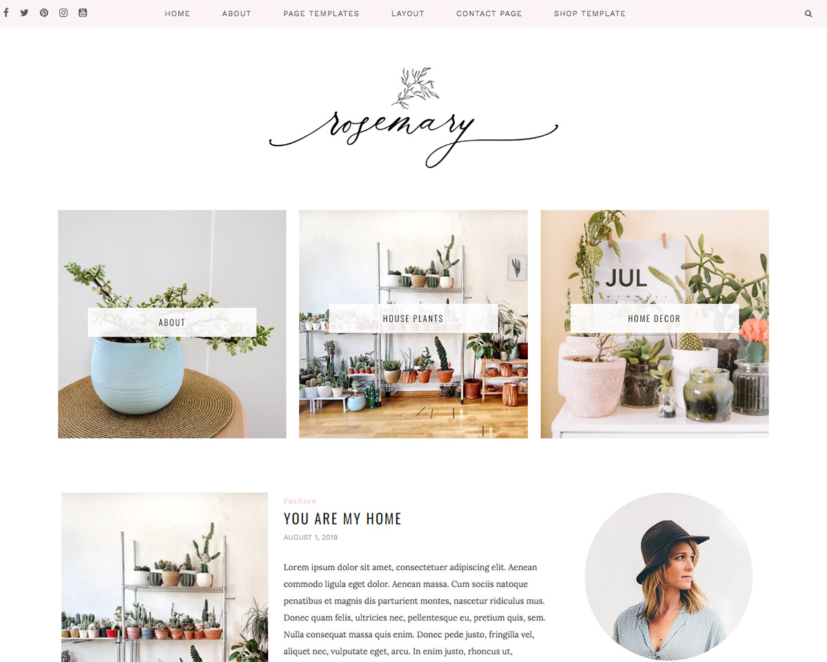 WordPress Themes for Lifestyle Bloggers in 2021: Rosemary by Sky and Stars.