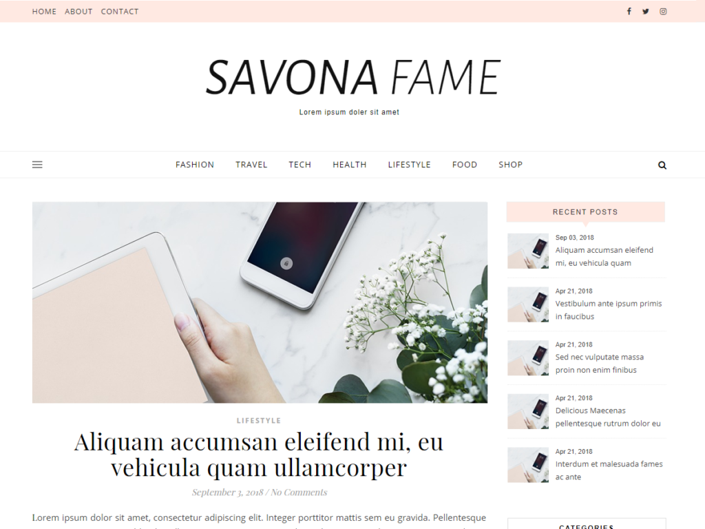 Savona Fame WordPress Theme.
