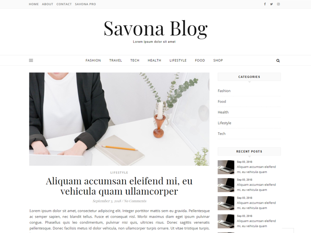 Savona Blog WordPress Theme.