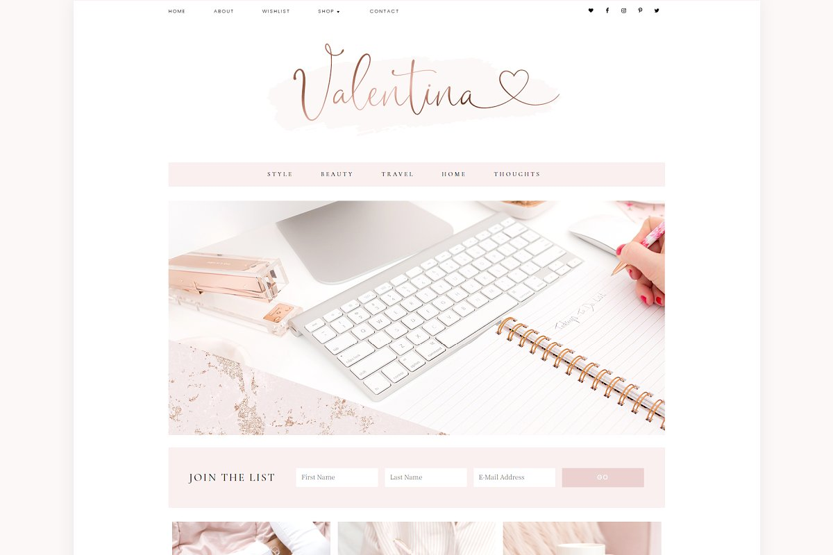 Valentina Blog Pixie WordPress Theme.
