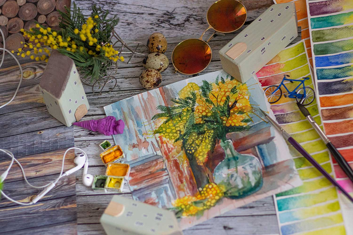 Watercolor Painting Flat Lay Photography
