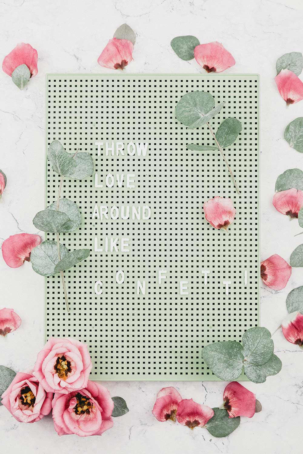 Pink and Sage Floral Letterboard Quote