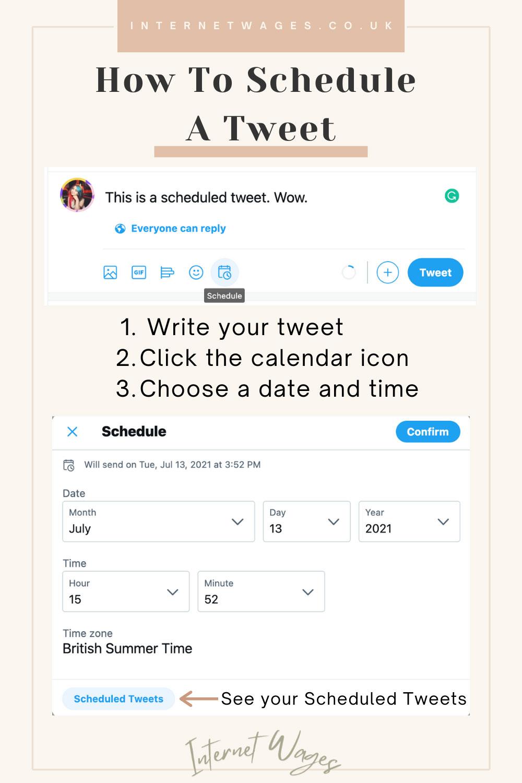 How to schedule a tweet graphic.