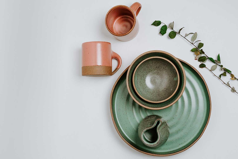 Natural Mugs and Plates Flatlay